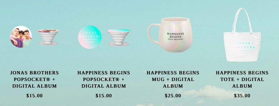 A screenshot of the Jonas Brother's Store, where you can album bundle with items such as a tote bag and mug.